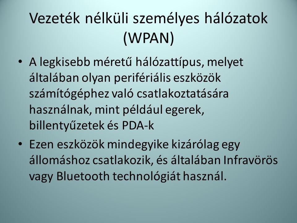 Vezeték nélküli személyes hálózatok (WPAN)