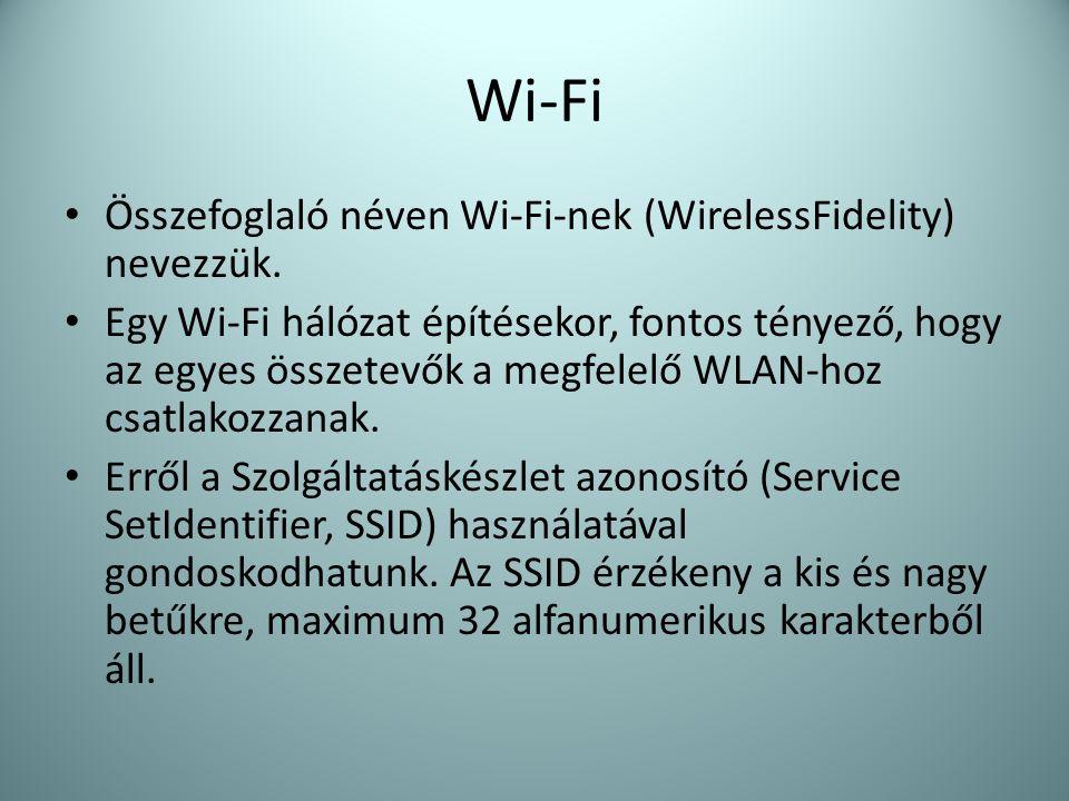 Wi-Fi Összefoglaló néven Wi-Fi-nek (WirelessFidelity) nevezzük.