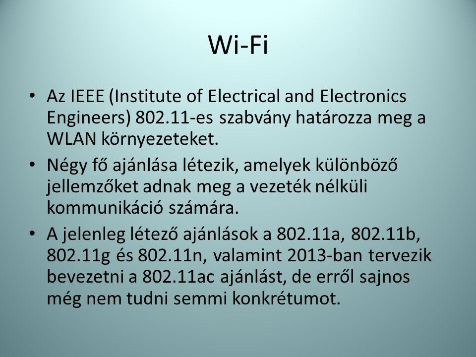 Wi-Fi Az IEEE (Institute of Electrical and Electronics Engineers) 802.11-es szabvány határozza meg a WLAN környezeteket.