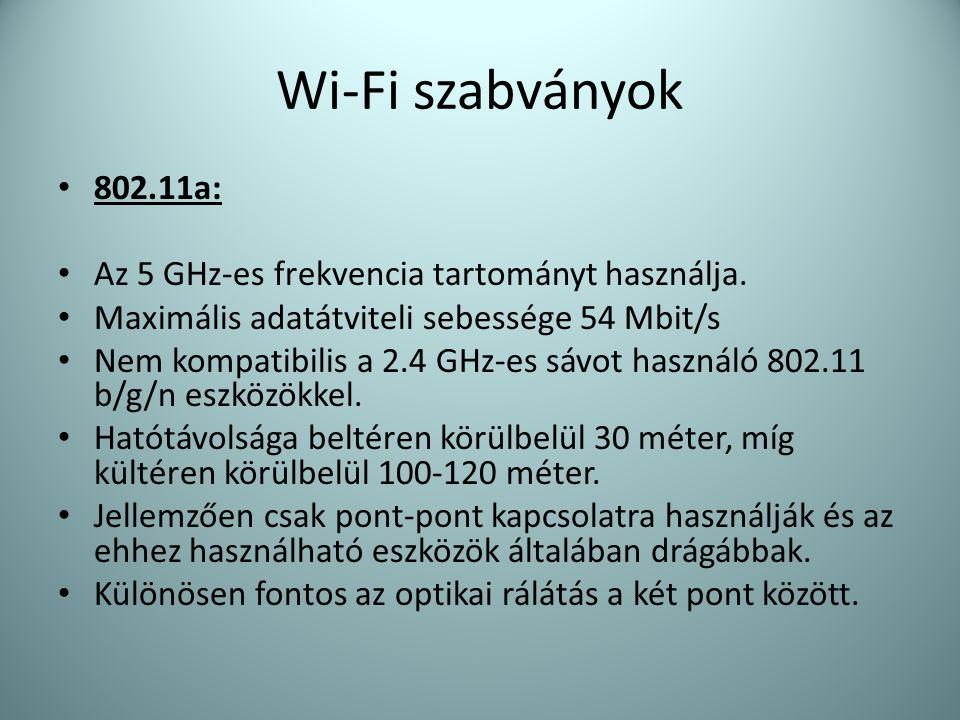 Wi-Fi szabványok 802.11a: Az 5 GHz-es frekvencia tartományt használja.