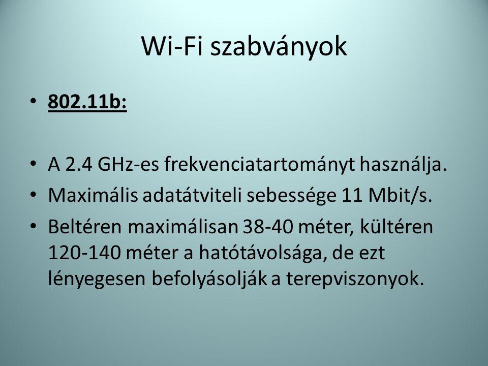 Wi-Fi szabványok 802.11b: A 2.4 GHz-es frekvenciatartományt használja.