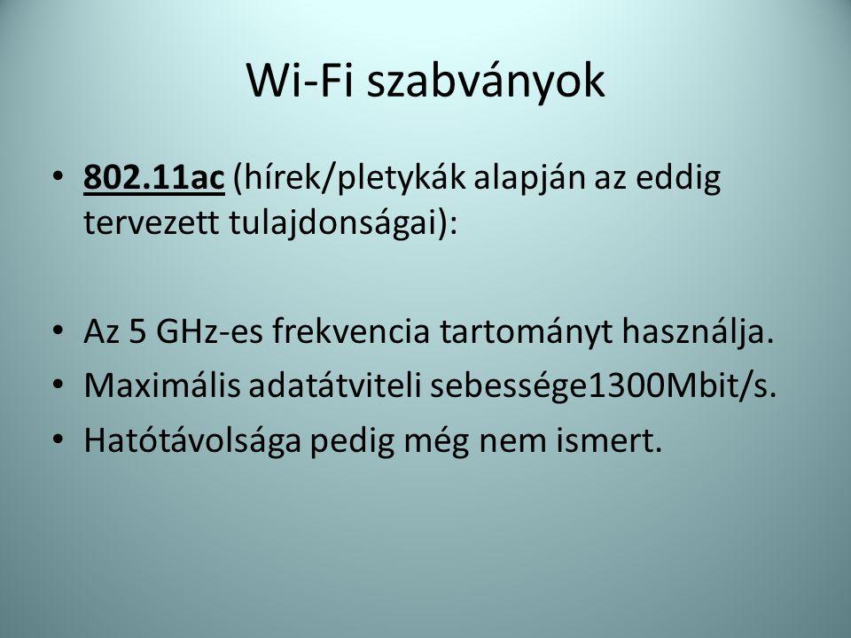 Wi-Fi szabványok 802.11ac (hírek/pletykák alapján az eddig tervezett tulajdonságai): Az 5 GHz-es frekvencia tartományt használja.