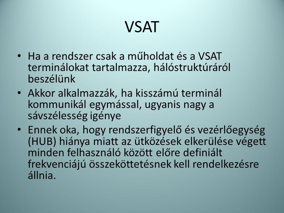 VSAT Ha a rendszer csak a műholdat és a VSAT terminálokat tartalmazza, hálóstruktúráról beszélünk.