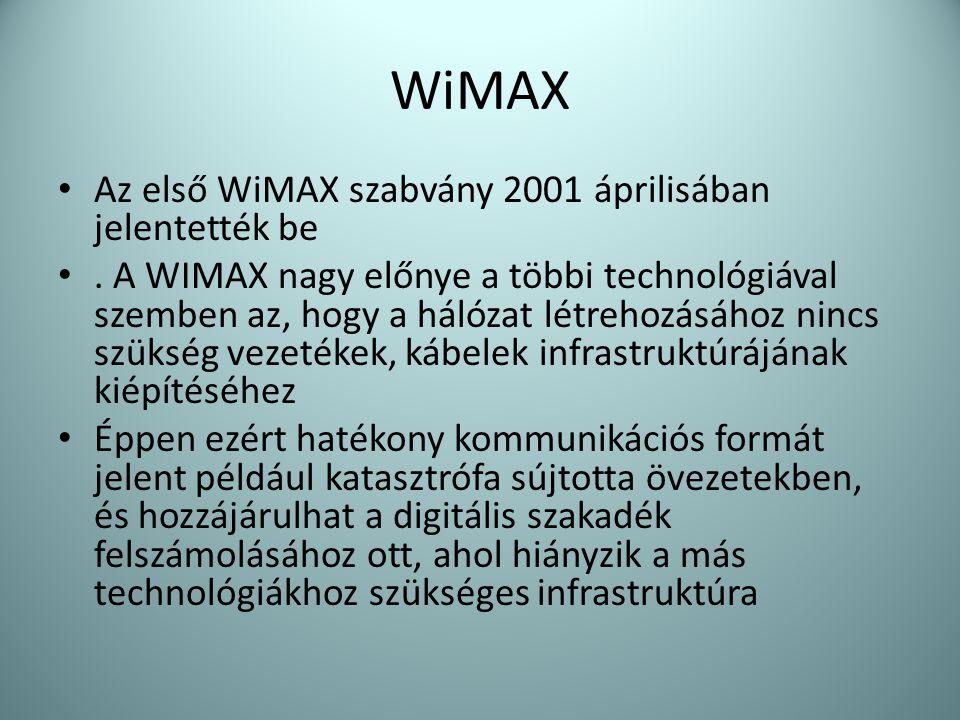WiMAX Az első WiMAX szabvány 2001 áprilisában jelentették be