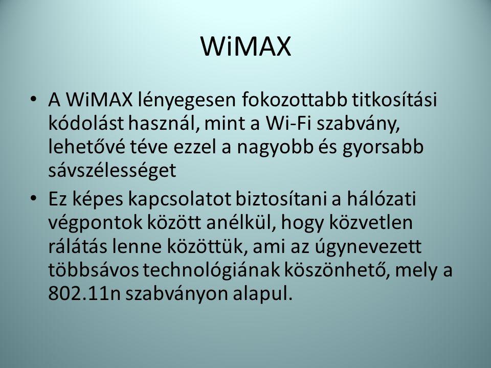 WiMAX A WiMAX lényegesen fokozottabb titkosítási kódolást használ, mint a Wi-Fi szabvány, lehetővé téve ezzel a nagyobb és gyorsabb sávszélességet.