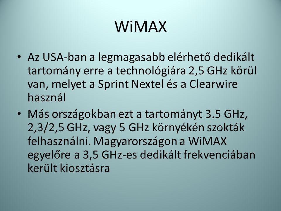 WiMAX Az USA-ban a legmagasabb elérhető dedikált tartomány erre a technológiára 2,5 GHz körül van, melyet a Sprint Nextel és a Clearwire használ.