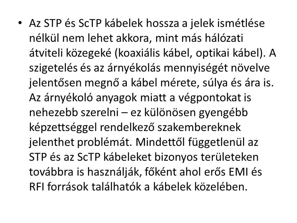 Az STP és ScTP kábelek hossza a jelek ismétlése nélkül nem lehet akkora, mint más hálózati átviteli közegeké (koaxiális kábel, optikai kábel).