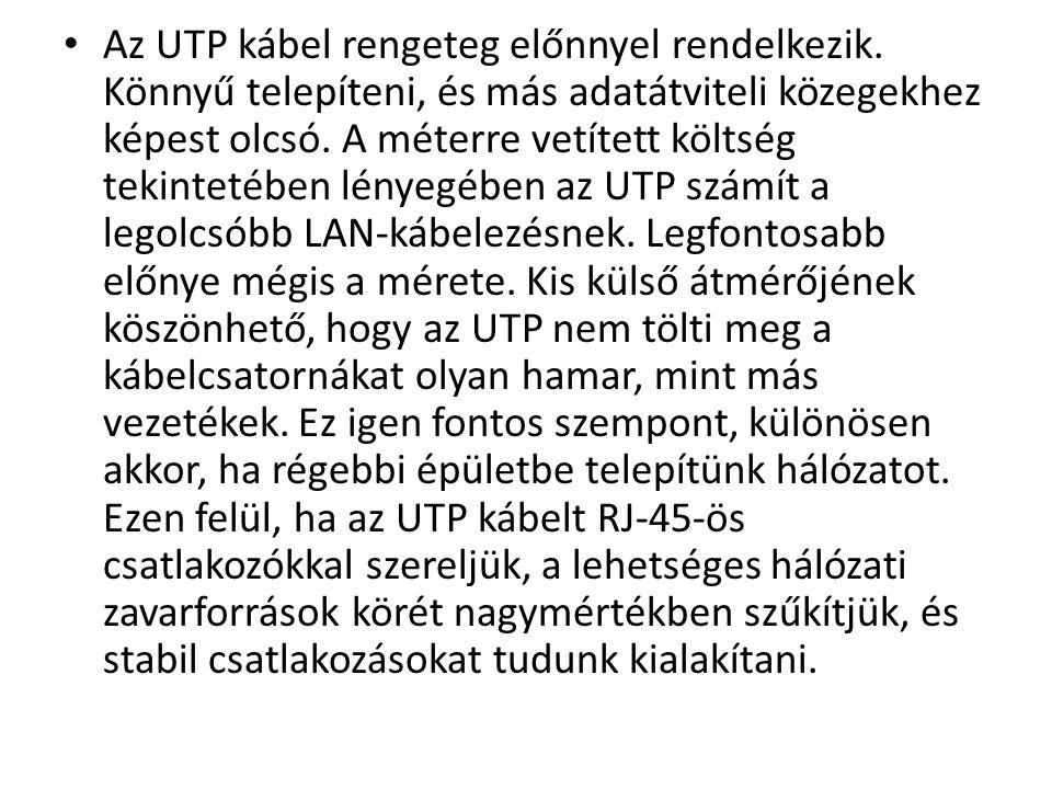 Az UTP kábel rengeteg előnnyel rendelkezik
