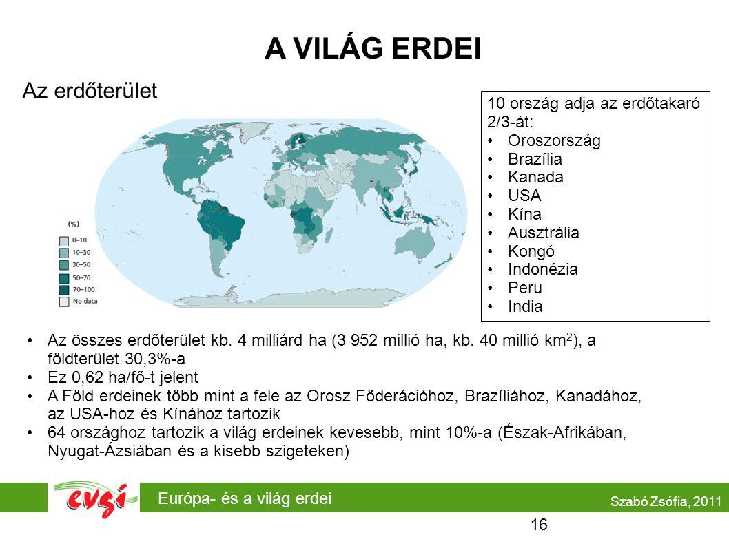 A VILÁG ERDEI Az erdőterület 10 ország adja az erdőtakaró 2/3-át: