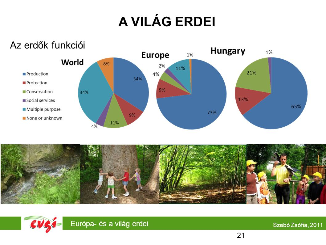 A VILÁG ERDEI Az erdők funkciói Európa- és a világ erdei