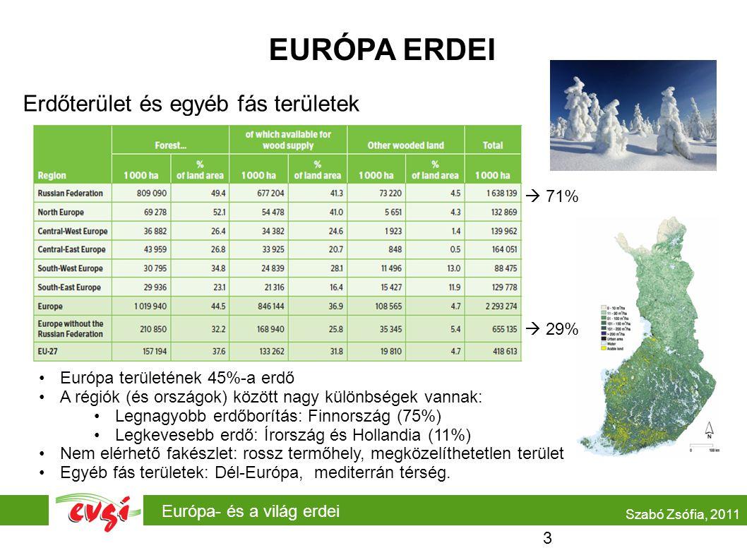 EURÓPA ERDEI Erdőterület és egyéb fás területek 71% 29%