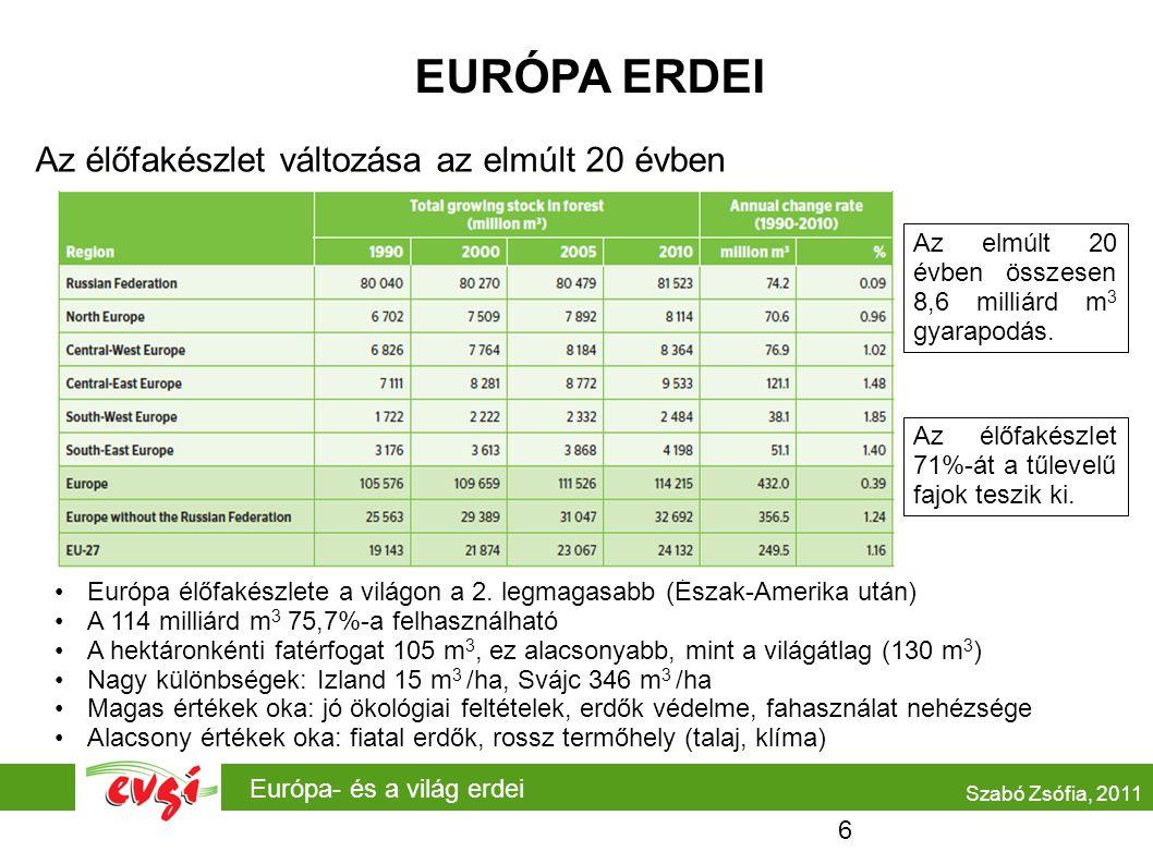 EURÓPA ERDEI Az élőfakészlet változása az elmúlt 20 évben