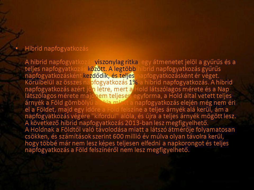 Hibrid napfogyatkozás A hibrid napfogyatkozás viszonylag ritka, egy átmenetet jelöl a gyűrűs és a teljes napfogyatkozás között.