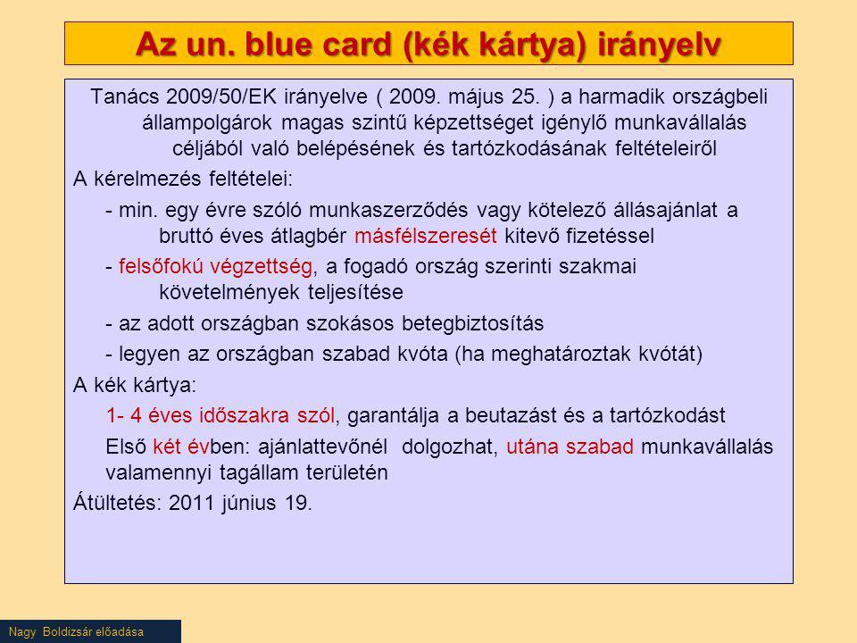 Az un. blue card (kék kártya) irányelv