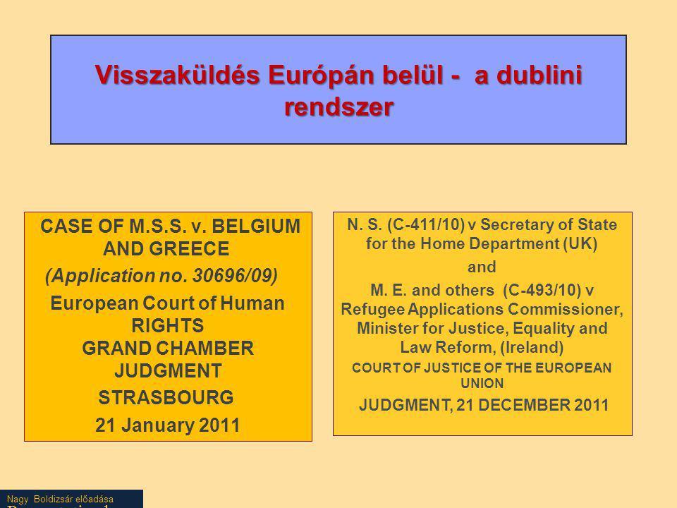 Visszaküldés Európán belül - a dublini rendszer