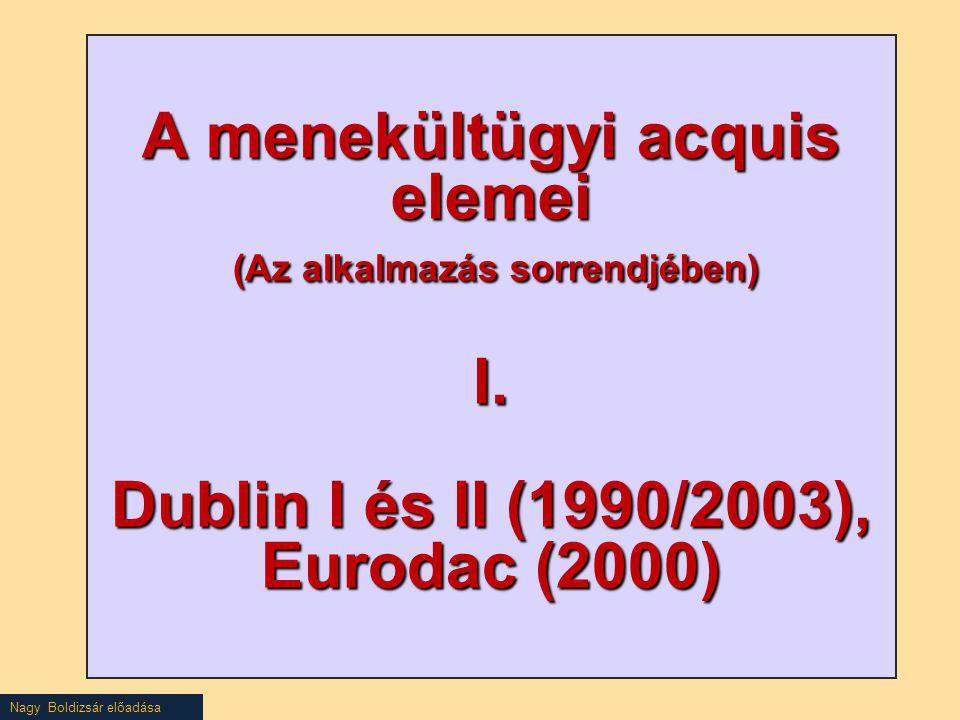 A menekültügyi acquis elemei (Az alkalmazás sorrendjében) I