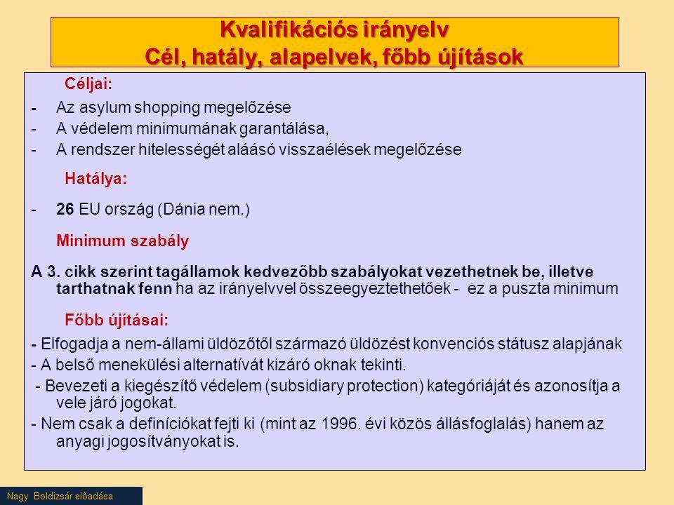 Kvalifikációs irányelv Cél, hatály, alapelvek, főbb újítások