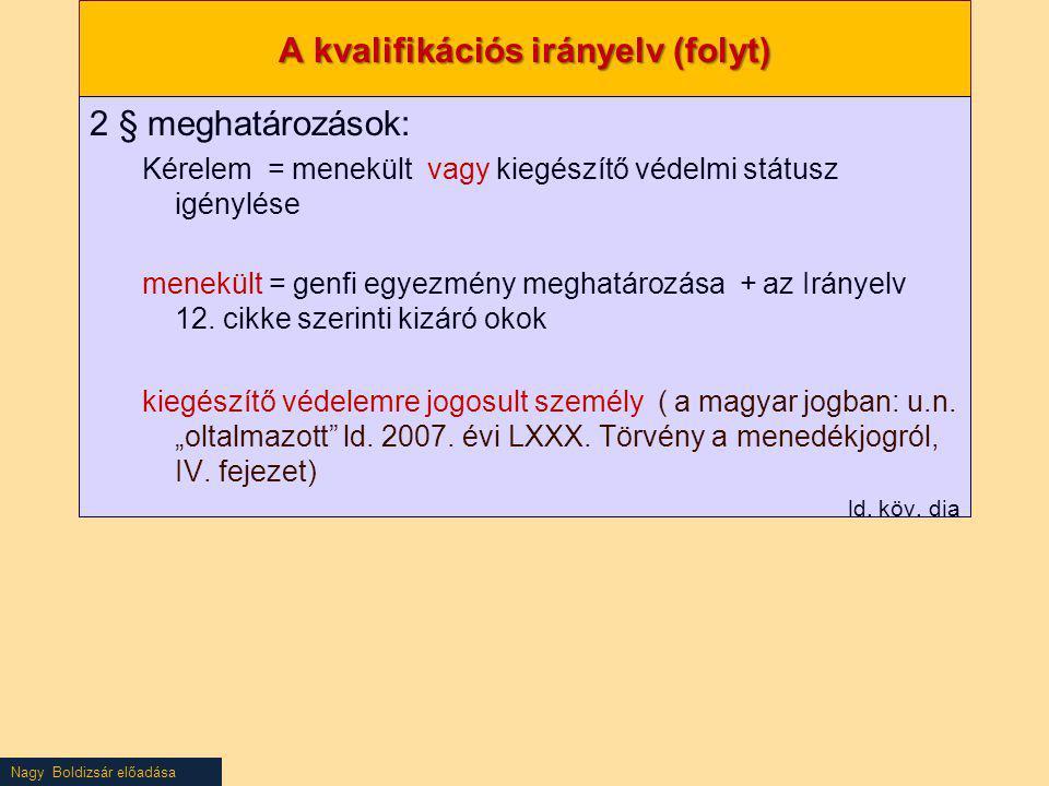 A kvalifikációs irányelv (folyt)