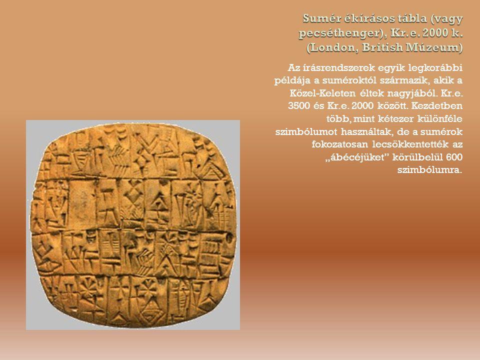 Sumér ékírásos tábla (vagy pecséthenger), Kr. e. 2000 k