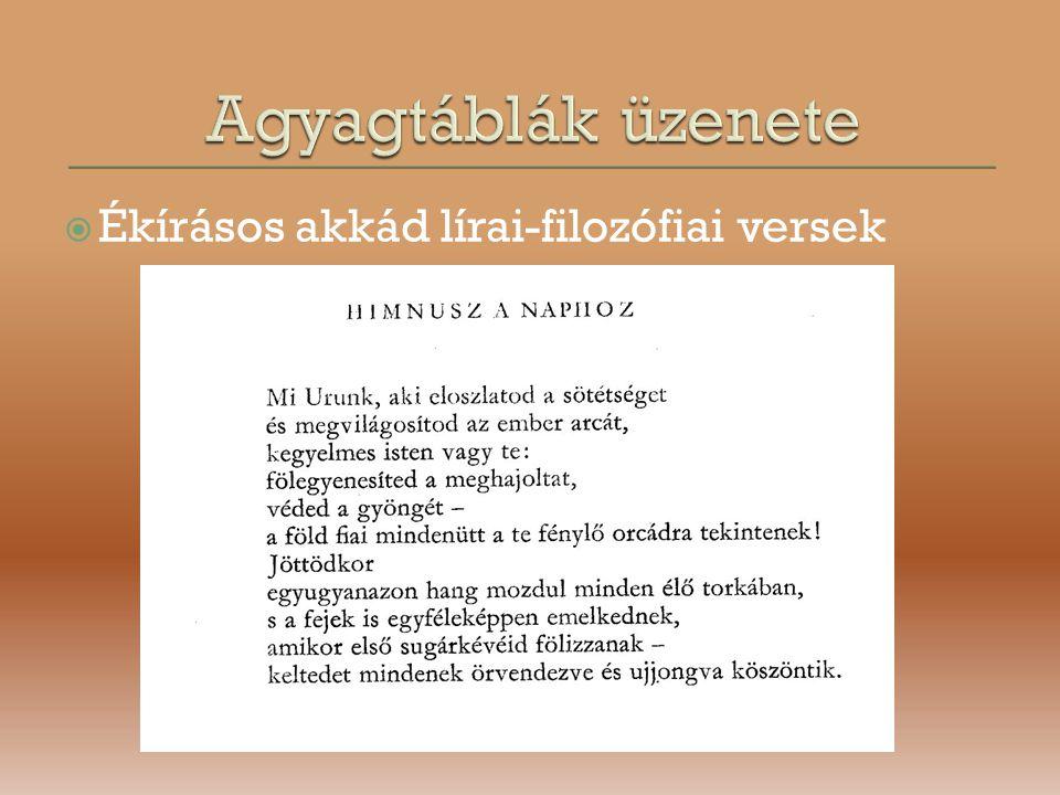 Agyagtáblák üzenete Ékírásos akkád lírai-filozófiai versek