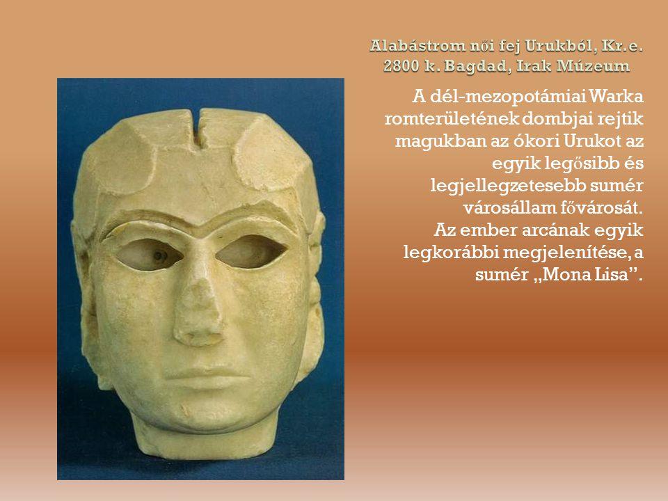 Alabástrom női fej Urukból, Kr.e. 2800 k. Bagdad, Irak Múzeum