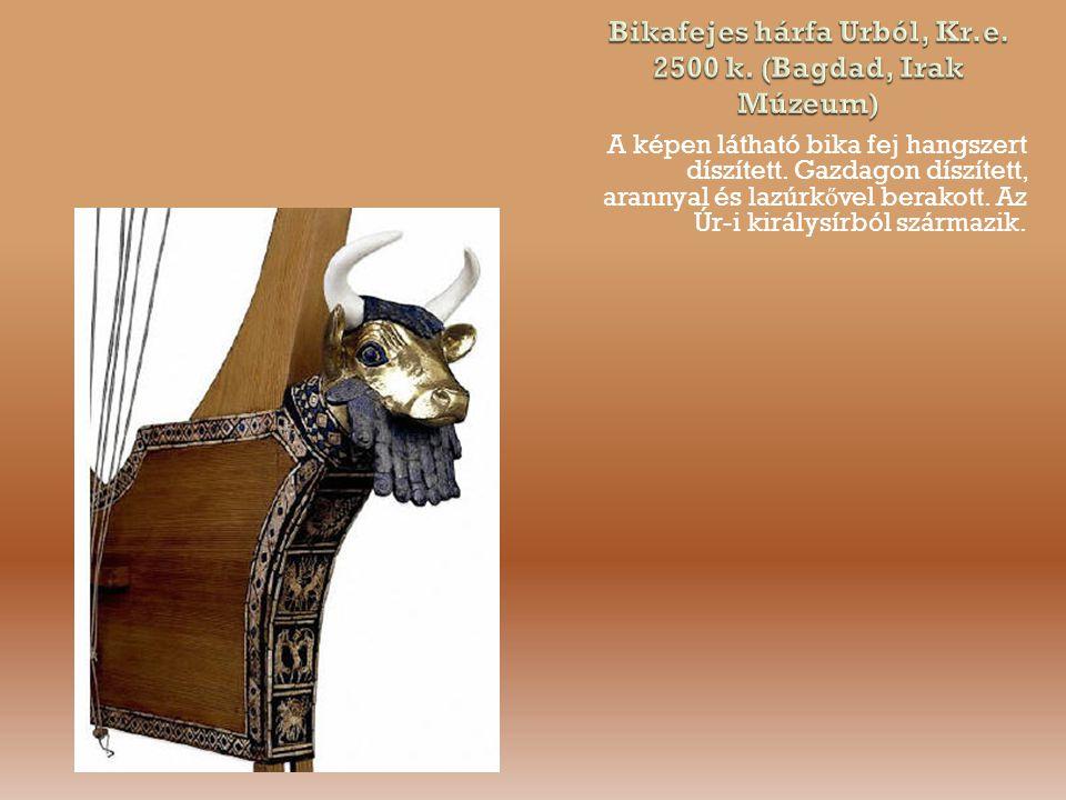 Bikafejes hárfa Urból, Kr.e. 2500 k. (Bagdad, Irak Múzeum)