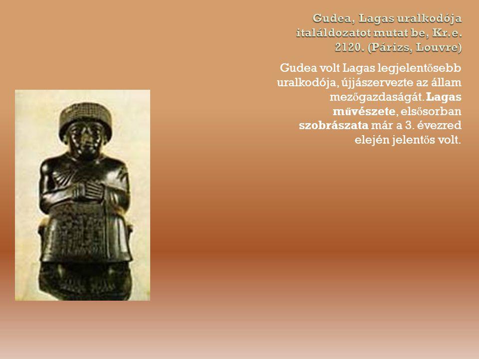 Gudea, Lagas uralkodója italáldozatot mutat be, Kr. e. 2120