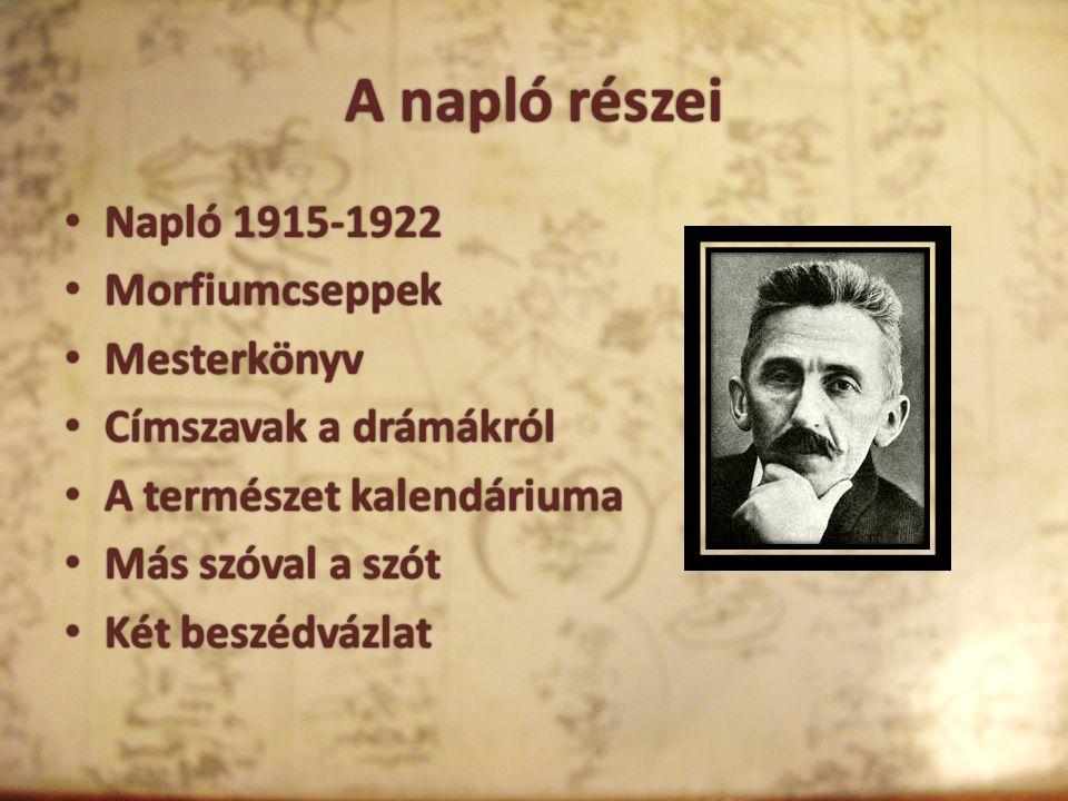 A napló részei Napló 1915-1922 Morfiumcseppek Mesterkönyv