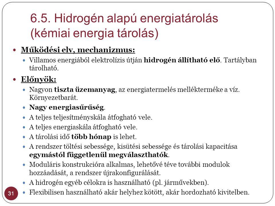 6.5. Hidrogén alapú energiatárolás (kémiai energia tárolás)