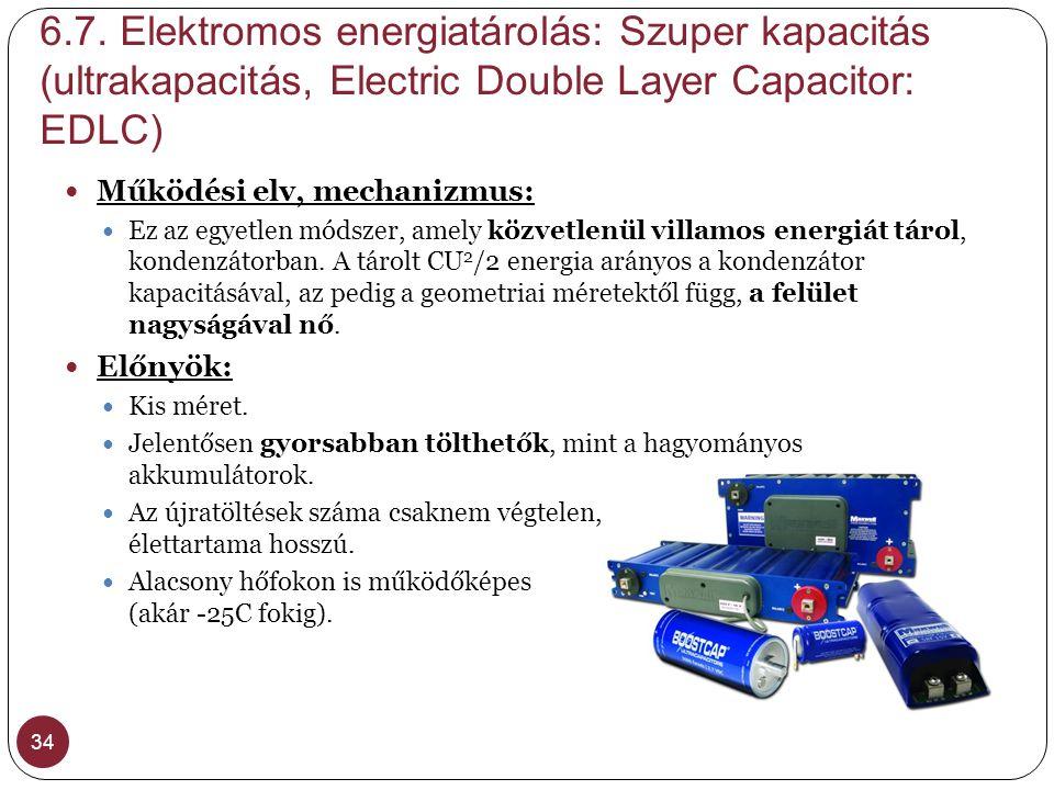 6.7. Elektromos energiatárolás: Szuper kapacitás (ultrakapacitás, Electric Double Layer Capacitor: EDLC)