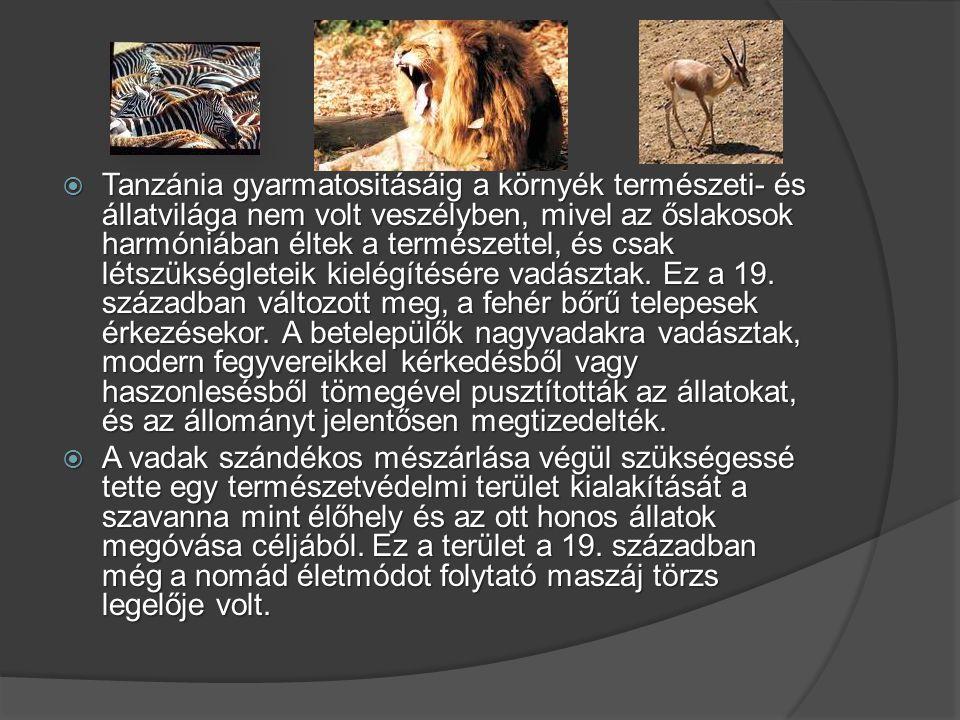 Tanzánia gyarmatositásáig a környék természeti- és állatvilága nem volt veszélyben, mivel az őslakosok harmóniában éltek a természettel, és csak létszükségleteik kielégítésére vadásztak. Ez a 19. században változott meg, a fehér bőrű telepesek érkezésekor. A betelepülők nagyvadakra vadásztak, modern fegyvereikkel kérkedésből vagy haszonlesésből tömegével pusztították az állatokat, és az állományt jelentősen megtizedelték.