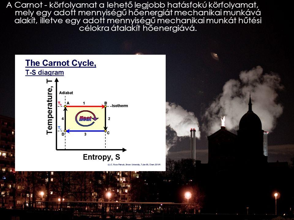 A Carnot - körfolyamat a lehető legjobb hatásfokú körfolyamat, mely egy adott mennyiségű hőenergiát mechanikai munkává alakít, illetve egy adott mennyiségű mechanikai munkát hűtési célokra átalakít hőenergiává.
