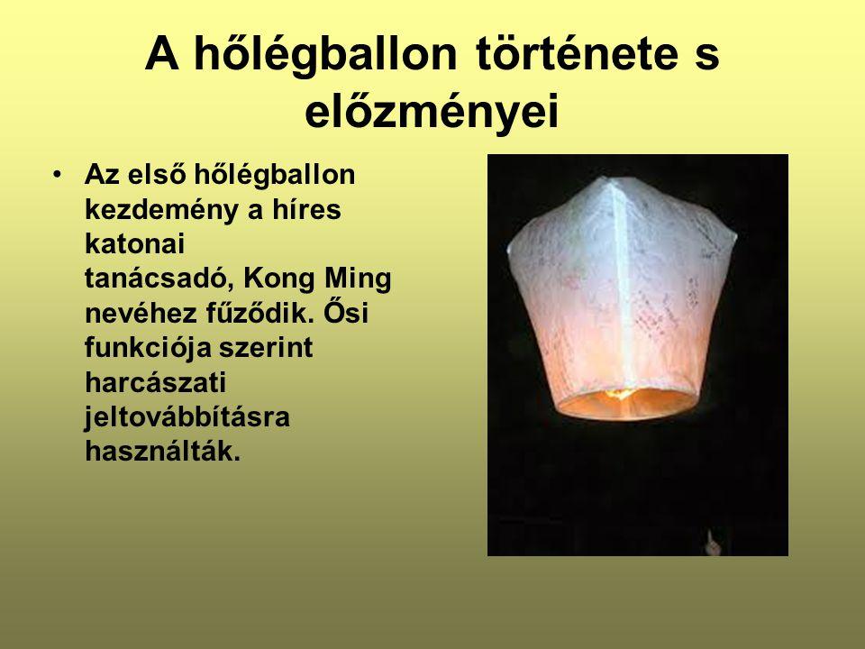 A hőlégballon története s előzményei