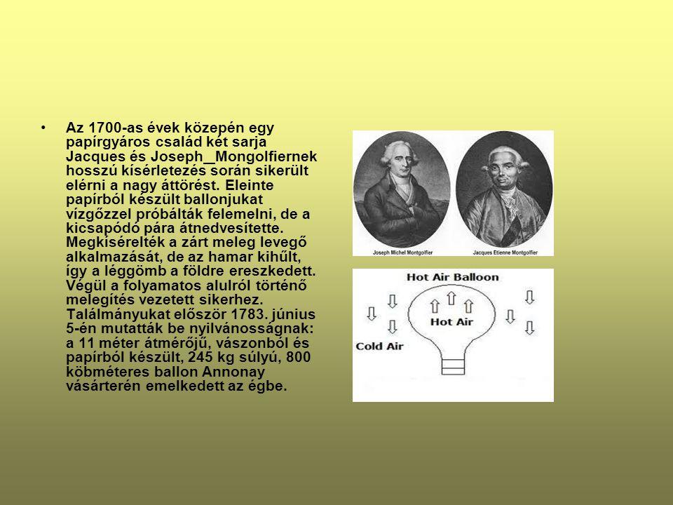 Az 1700-as évek közepén egy papírgyáros család két sarja Jacques és Joseph Mongolfiernek hosszú kísérletezés során sikerült elérni a nagy áttörést.