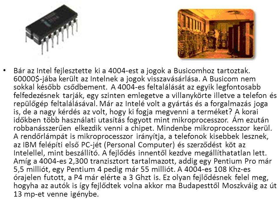 Bár az Intel fejlesztette ki a 4004-est a jogok a Busicomhoz tartoztak