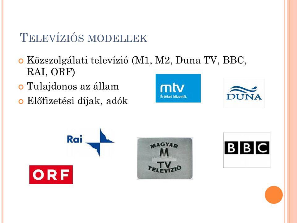 Televíziós modellek Közszolgálati televízió (M1, M2, Duna TV, BBC, RAI, ORF) Tulajdonos az állam.