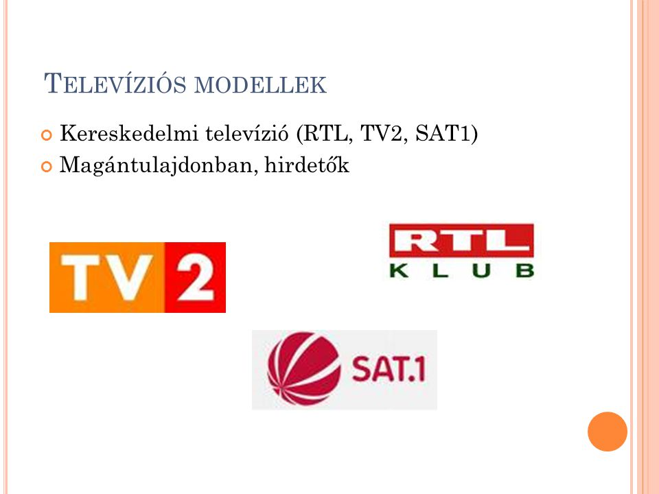 Televíziós modellek Kereskedelmi televízió (RTL, TV2, SAT1)