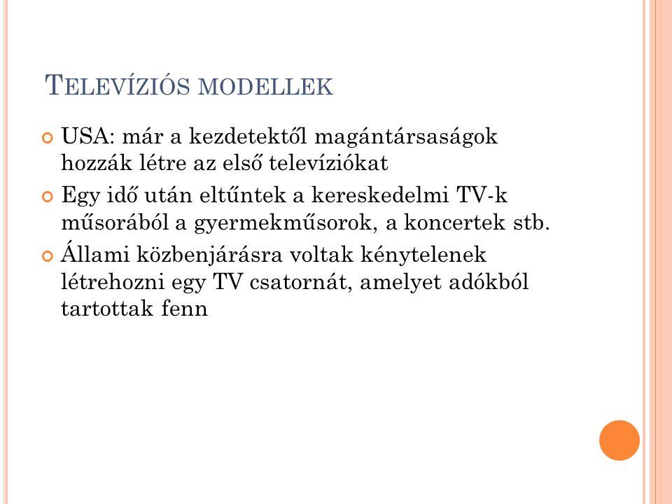Televíziós modellek USA: már a kezdetektől magántársaságok hozzák létre az első televíziókat.