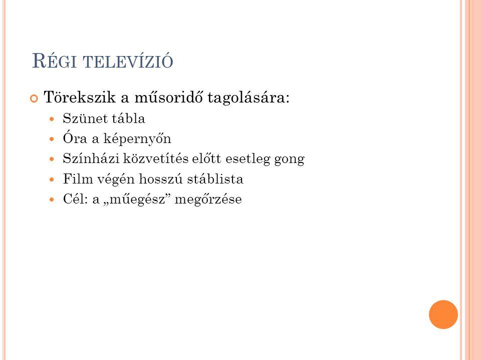 Régi televízió Törekszik a műsoridő tagolására: Szünet tábla