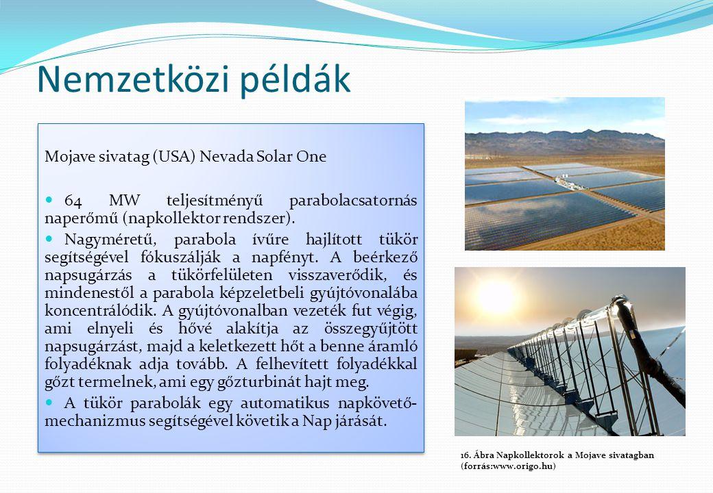 Nemzetközi példák Mojave sivatag (USA) Nevada Solar One