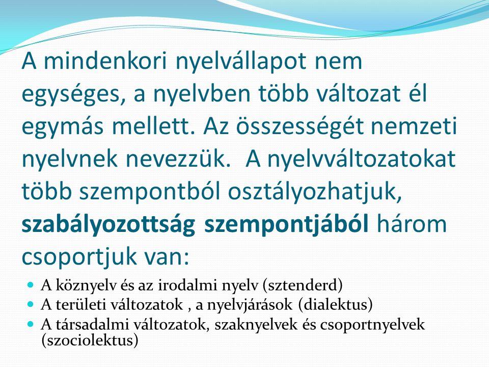 A mindenkori nyelvállapot nem egységes, a nyelvben több változat él egymás mellett. Az összességét nemzeti nyelvnek nevezzük. A nyelvváltozatokat több szempontból osztályozhatjuk, szabályozottság szempontjából három csoportjuk van: