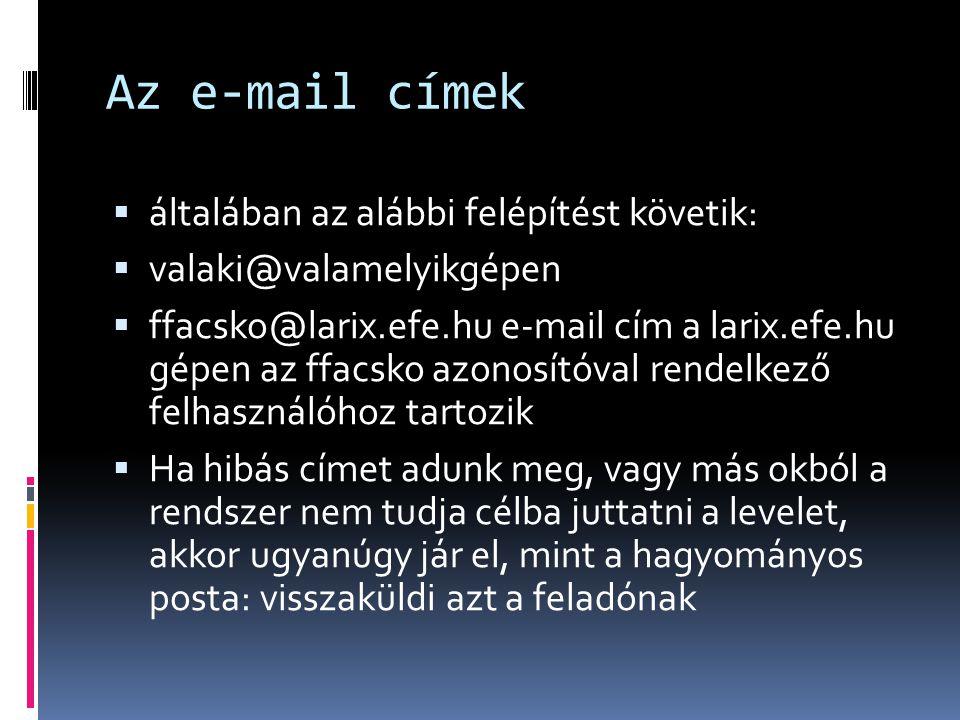 Az e-mail címek általában az alábbi felépítést követik: