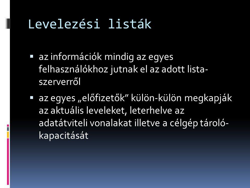 Levelezési listák az információk mindig az egyes felhasználókhoz jutnak el az adott lista- szerverről.