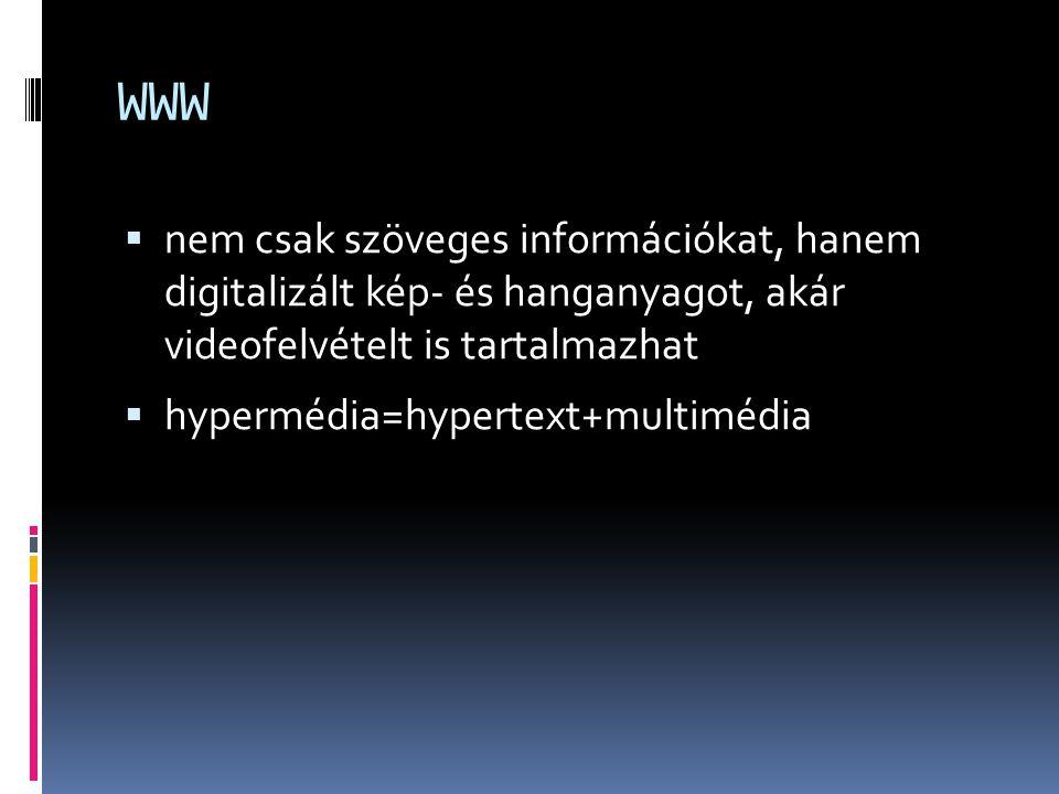 WWW nem csak szöveges információkat, hanem digitalizált kép- és hanganyagot, akár videofelvételt is tartalmazhat.