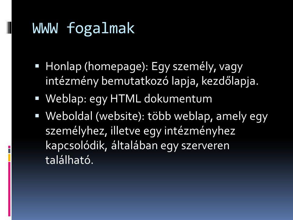 WWW fogalmak Honlap (homepage): Egy személy, vagy intézmény bemutatkozó lapja, kezdőlapja. Weblap: egy HTML dokumentum.
