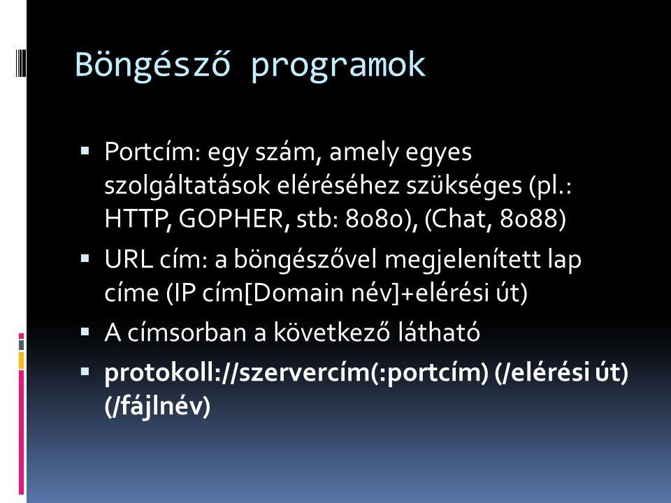 Böngésző programok Portcím: egy szám, amely egyes szolgáltatások eléréséhez szükséges (pl.: HTTP, GOPHER, stb: 8080), (Chat, 8088)