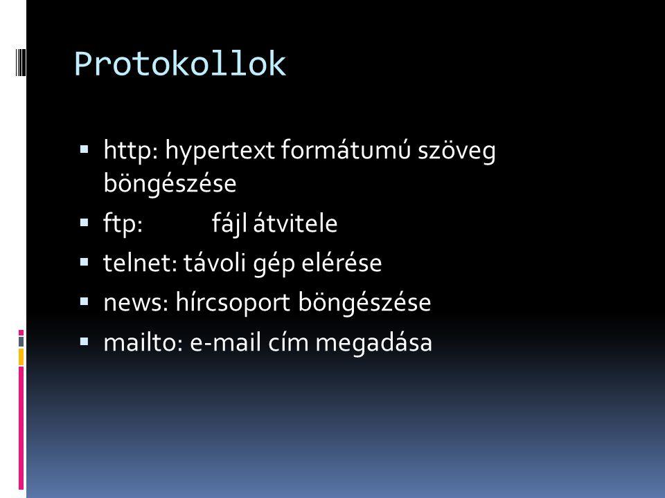 Protokollok http: hypertext formátumú szöveg böngészése