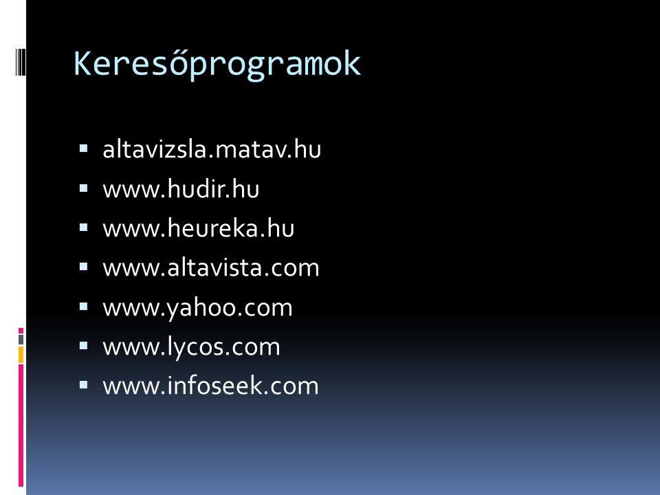 Keresőprogramok altavizsla.matav.hu www.hudir.hu www.heureka.hu
