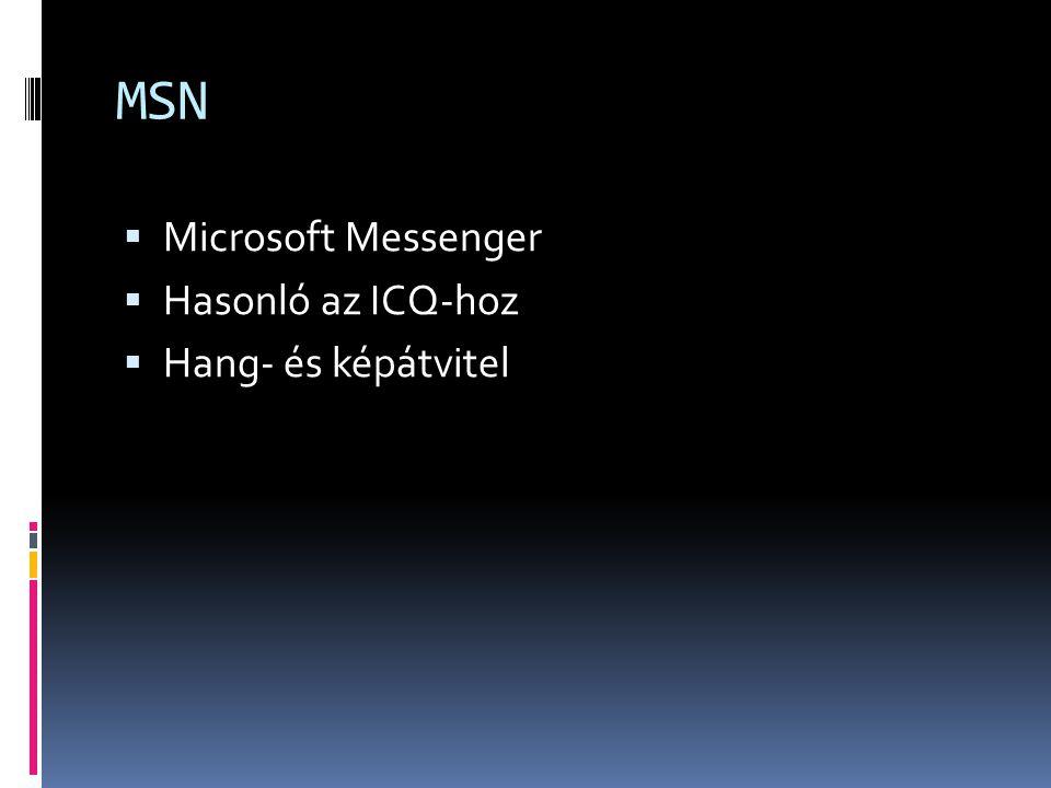MSN Microsoft Messenger Hasonló az ICQ-hoz Hang- és képátvitel