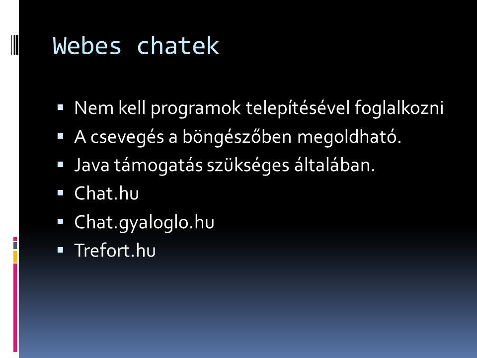 Webes chatek Nem kell programok telepítésével foglalkozni